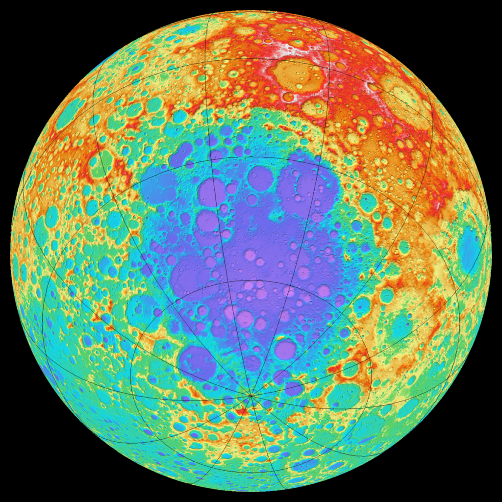 Topography of the South-Pole Aitken basin